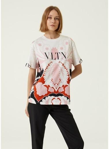 Valentino Valentino VLTN  Bisiklet Yaka Desenli T-shirt 101642648 Ekru